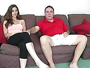 cute splendorous tits girl heeding tv with not his dad