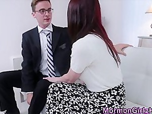 Teensy-weensy mormon cum sprayed