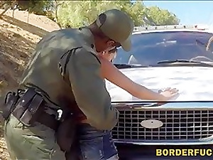 Kinky latina babe pounded by pervert border security guard agent