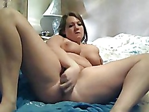Sweltering Obese Beamy BBW masturbating say no to pussy increased by squirting