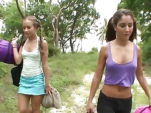 Two hot girlfriends have sex outdoors