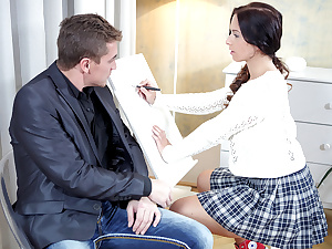 Christy gets her tricky aged teacher to play with respect to her clitoris before she rides him