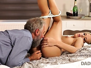 DADDY4K. Chick rides senior gentleman's joystick in daddy pornography
