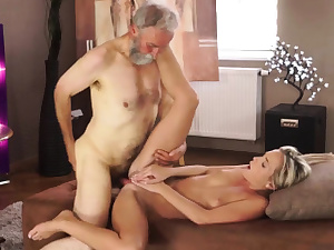 Blonde nubile bangs aged stud and father boss' ally's daughter