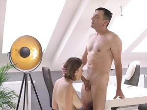 Inexperienced elderly fellow creampie Elderly clever gent with a