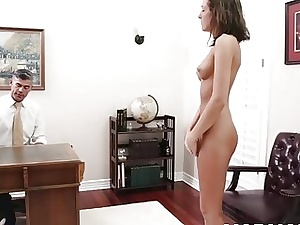 Lean Mormon nubile with perky tits fingers her muff solo