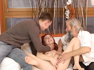 Ginger-haired and dark haired milf three-way very first time Sudden