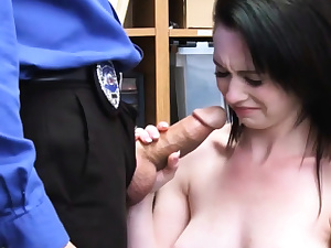 A clueless shoplifter damsel gets fucked hard by a cop