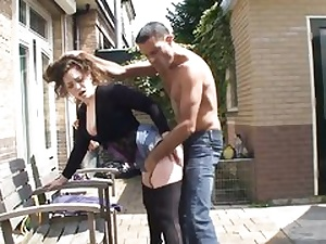 Super-naughty female takes hold of his dick outdoors and then embarks deep-throating it