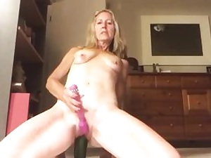 Wild mature whore is humping her vagina with all the vegetables she has