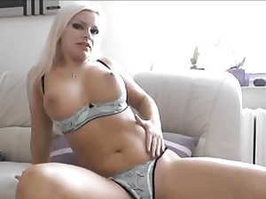Posh babe wearing sexy lingerie and touching her sexy beaver fuck-hole