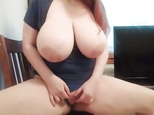 Ginger-haired with phat melons massaging her coochie hole on the camera