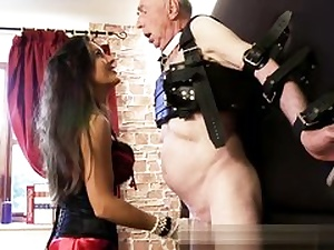 Old super-naughty boy is getting his chisel and his super-naughty balls abused rough