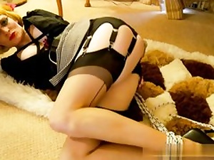 Blondie honey on high heels gets taut up and sexually manhandled rough