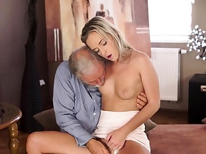 OLD4K. Shanie has a punch on her grey-bearded instructor