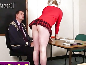 Ash-blonde student sucks educator