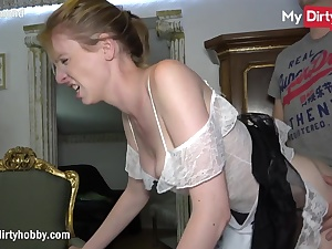 Housemaid unsheathing shaven poon fuck hole and she gets bashed