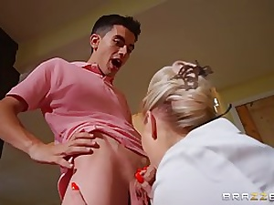 Fashionable blond cougar, Georgie got down and sloppy with Jordi and got a phat facial cumshot popshot