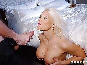 Supreme looking blond whore, Blanch Bradburry is salivating on her gorgeous client's fat meat stick